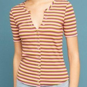 Anthropologie Maeve striped button t-shirts size Large